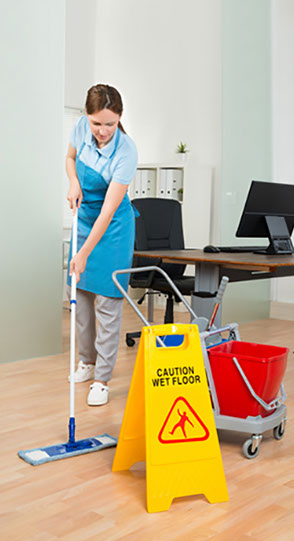 image of floor cleaning with sign